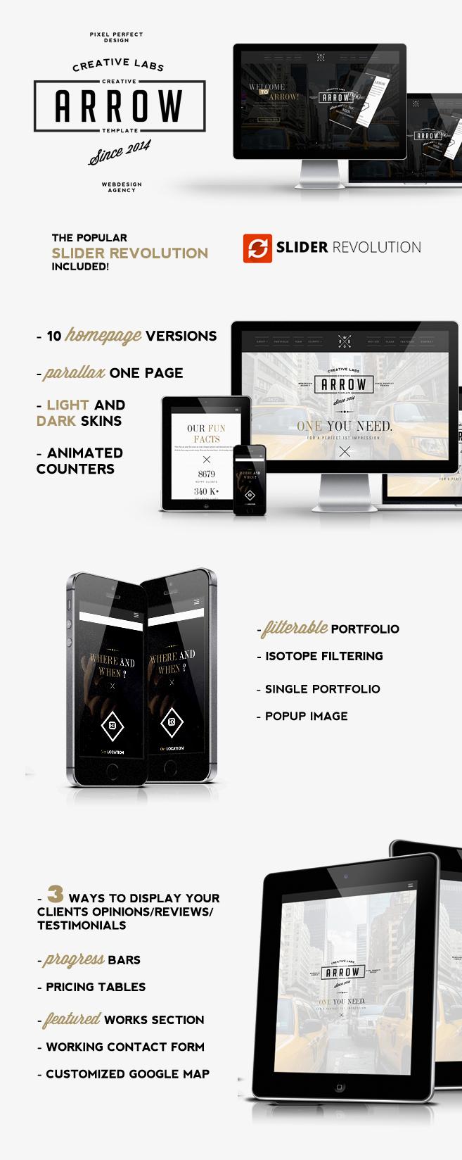 WordPress theme Arrow - Creative One Page WordPress Theme (Portfolio)